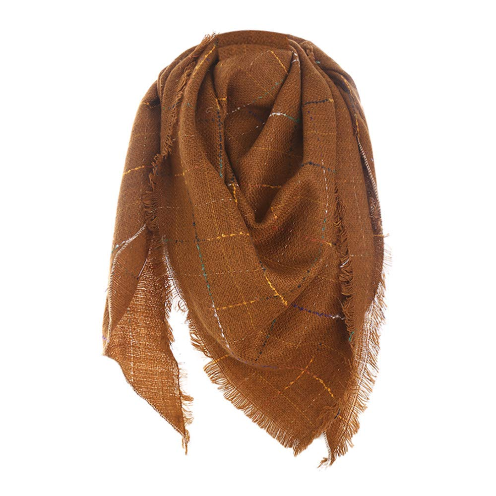 Fall Winter Scarf Large Soft Cashmere Feel Long Shawls Wraps Classic Tassel Plaid Scarf Warm Lightweight Wrap Faux Fur Collar Cashmere Scarf Scarf Hat And Gloves Set Printing(Brown)