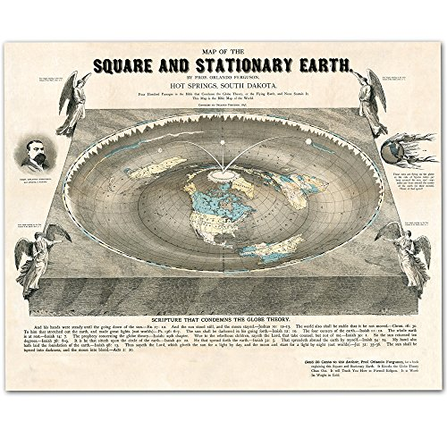 Flat Earth Map of the Square and Stationary Earth - 11x14 1893 Map by Orlando Ferguson This Map Is the Bible Map of the World - Includes FREE eBook - Zetetic Astronomy by Samuel Rowbotham