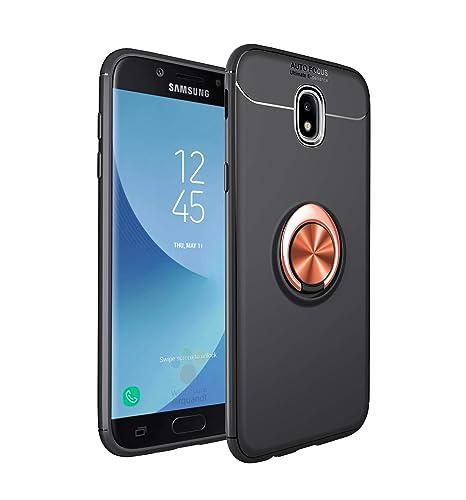 SpiritSun Funda para Samsung Galaxy J7 2017, Silicona Carcasa con Anillo de Soporte, 360° Giratorio Protector Case Suave Gel TPU Bumper Tapa Flexible ...