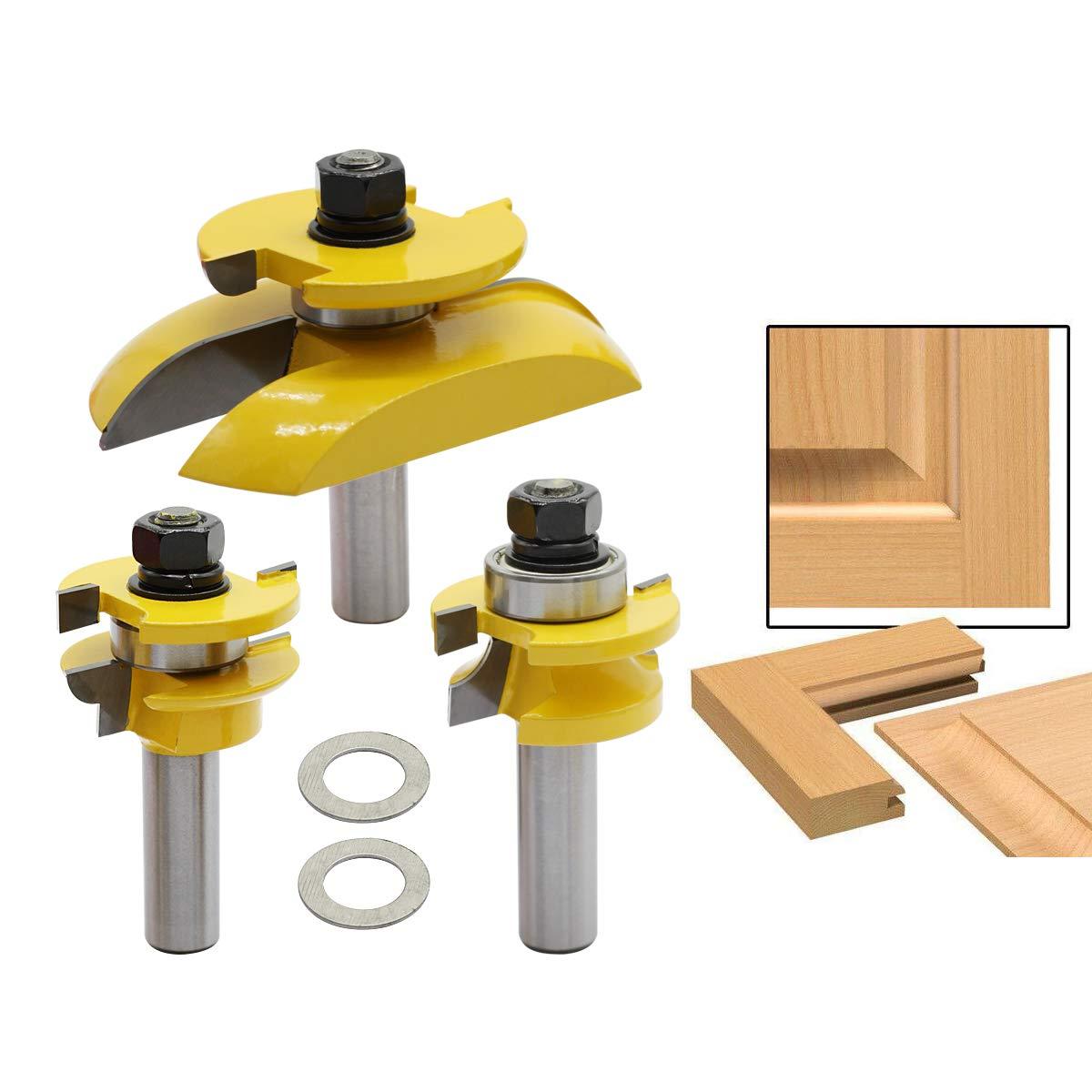 Nxtop 3Pcs 1/2'' Shank Rail Blade Cutter Panel Cabinet Router Bits Set Milling cutter Power Tools Door knife Wood Cutter