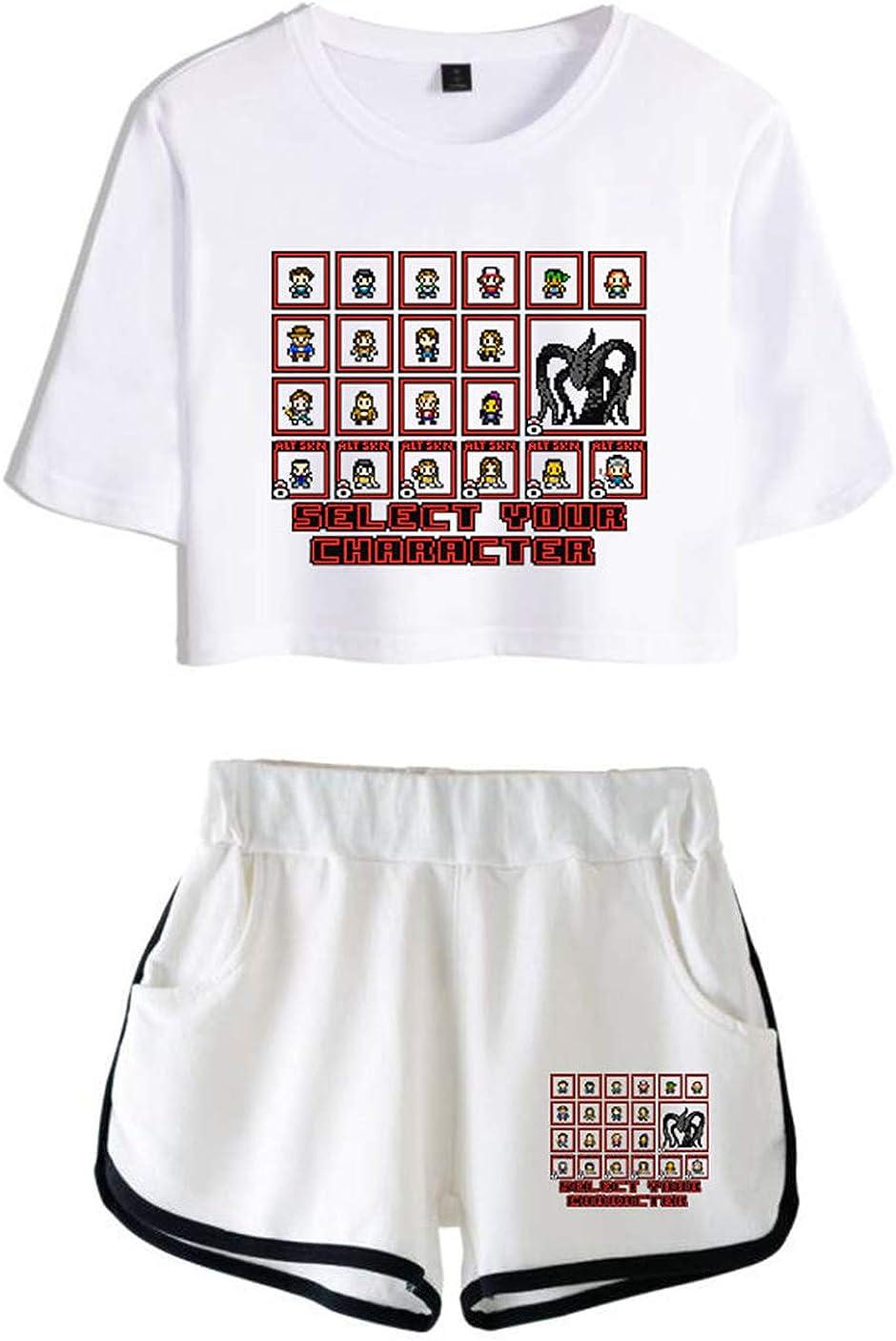 HUASON Stranger Things Bambine e Ragazze Crop Top T-Shirt e Shorts Strada Moda Abbigliamento Sportivo Set