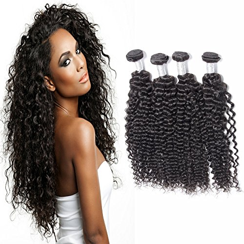 Malaysian Curly Hair 4 Bundles 7A Grade Unprocessed Human Hair Weave Extensions Natural Colr 1b Malaysian Virgin Hair Deep Curly Hair (4x12)