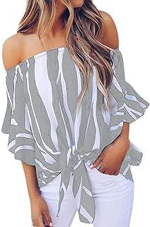 ReooLy T-Shirt da Donna a Maniche Corte con Spalline e Maniche Corte T-Shirt a Maniche Corte