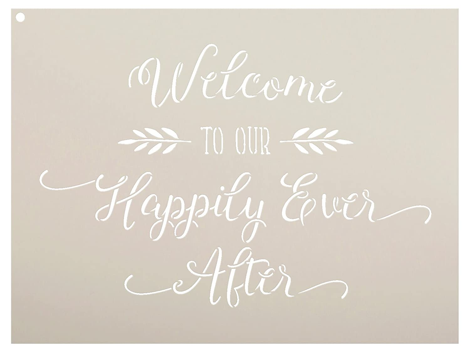 Welcome To Our Happily Ever After Stencil by StudioR12 | Elegant Wedding Word Art - Reusable Mylar Template | Painting, Chalk, Mixed Media | Use for Wall Art, DIY Home Decor - SELECT SIZE (25 x 18) Studio R 12