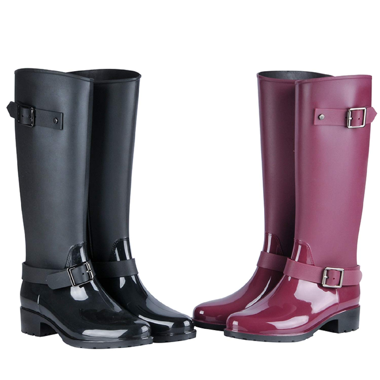 H-Mastery Bottes de Pluie Femme en Hautes Caoutchouc avec Talon Chaussures Imperméable Boucle Zip Wellington Boots