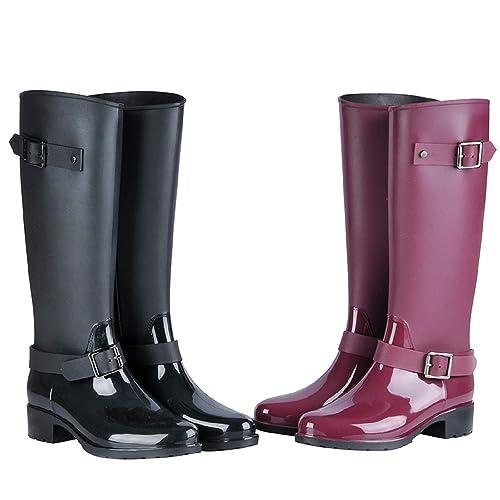 H Mastery Botas de Agua Mujer Lluvia con Goma Altas Zapatos