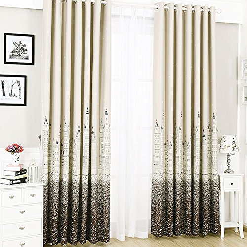 GreatHealt Blue and White Removable Punching Curtains Mediterranean Castle Bedroom Balcony Castle European Casual dustproof Easy to Clean Custom Curtains (Brown Thick Section)