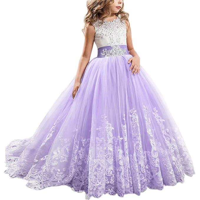 128623d6d9 Vestido de Princesa de Encaje con Appliques Vestido de Niña de Flores para  la Boda Dama
