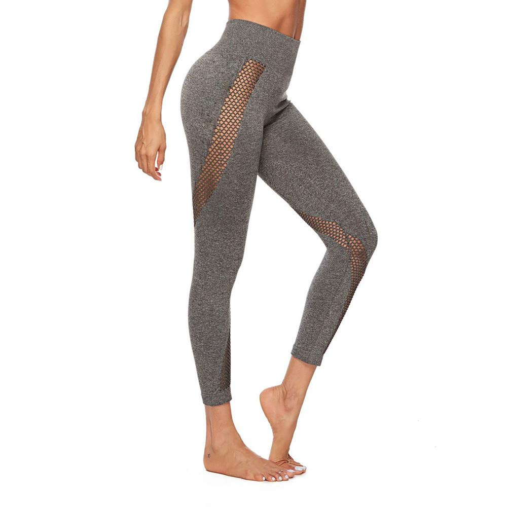 2019 New Hollow Out Yoga Pants,Kaicran Solid Color Tummy Control Workout Running Athletic Pants Leggings (S, Gray)