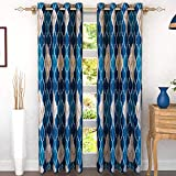 Story at Home Abstract 2 Piece Eyelet Polyester Door Curtain Set for Living Room and Bedroom - 7 feet, Blue and Cream