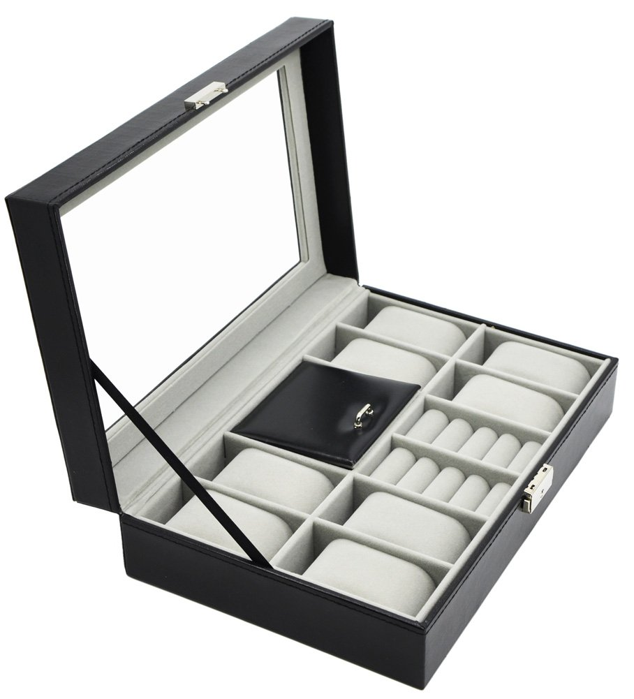 Lovely Amazon.com: Jewelry And Watch Box Watch Storage Ring Earring Collection  Cufflink Holder Glass Top PU Leather Black: Home U0026 Kitchen