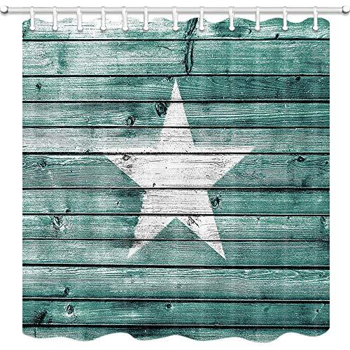 NYMB Farmhouse Rustic Wooden Pentagram Shower Curtain with Hooks, 3D Digital Printing West Texas Country Star on Barn Wood Plank Bath Curtain, Fabric Western Bathroom Curtain Set Decor, 69X70in, Teal
