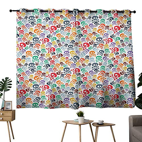 homecoco Skull Grommets Fashion Darkening Curtains Halloween Themed Colorful Skulls and Crossbones Funny Cartoon Style Pattern Print Curtain Decoration Multicolor W55 x L39