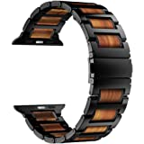 iiteeology Compatible with Apple Watch Band 44mm 42mm 40mm 38mm, Natural Wooden Stainless Steel Link Bracelet Strap for Apple