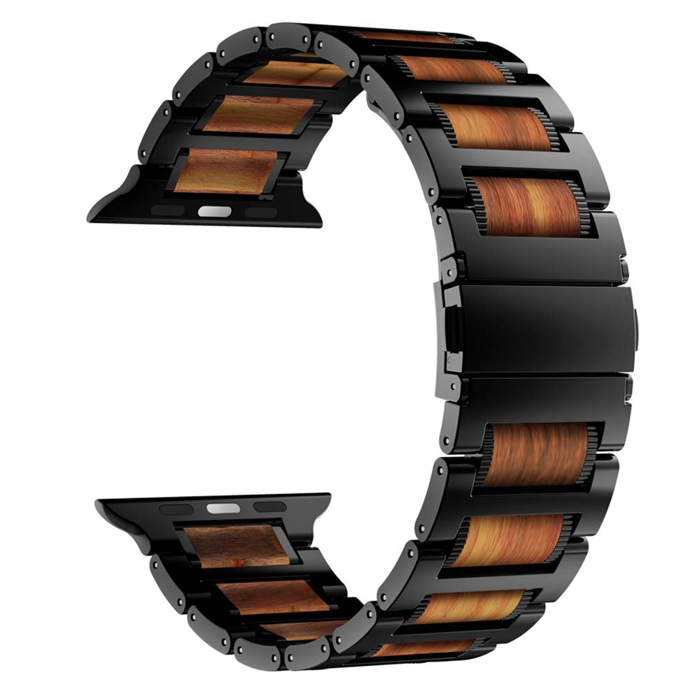 iiteeology Compatible with Apple Watch Band 44mm 42mm, Natural Wooden Red Sandalwood Stainless Steel Link Bracelet Strap for Apple iWatch Series 4/3/2/1 - Black