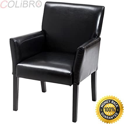 COLIBROX  Executive PU Leather Guest Chair Reception Side Arm Chair  Upholstered Wood Leg.
