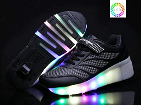 YURU Children Wheel Shoes, LED Lamp Skating Shoes Kids