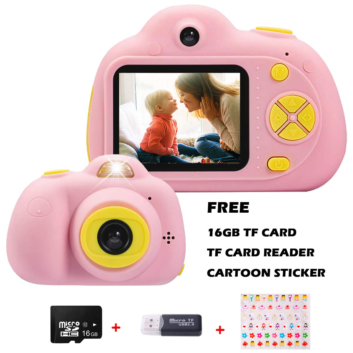 KIDOVE Kids Toys Fun Camera, Waterproof & Shockproof Child Selfie digital game Camcorder, 8MP 1080P dual camera Video Recorder, Creative Birthday Gifts for girls and boys, 16GB TF Card Included (Pink) by KIDOVE (Image #1)