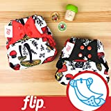 (US) Doodles Collection: Flip Hybrid Reusable Cloth Diaper Cover with Adjustable Snaps and Stretchy Tabs - Fits Babies from 8 to 35+ pounds (SHROOMazing)