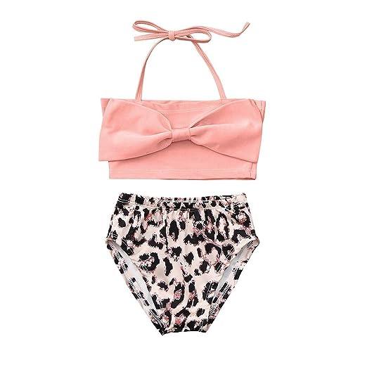 5135626e4048c Amazon.com: Cuekondy Children Kids Baby Girls Bikini Swimsuit Set Bow  Halter Swimwear Tops+Leopard Print Shorts Bathing Suit Tankini: Clothing