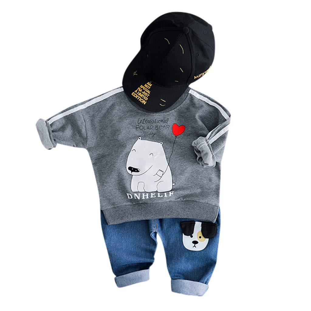 LILICAT✈✈✈✈✈✈✈✈ (12M-3Y Camiseta de Manga Larga con Estampado de Dibujos Animados para niños + Pantalones Largos Conjunto de Dos Piezas Niño pequeño Bebé Sudadera de Dibujos Animados Tops Pantalones