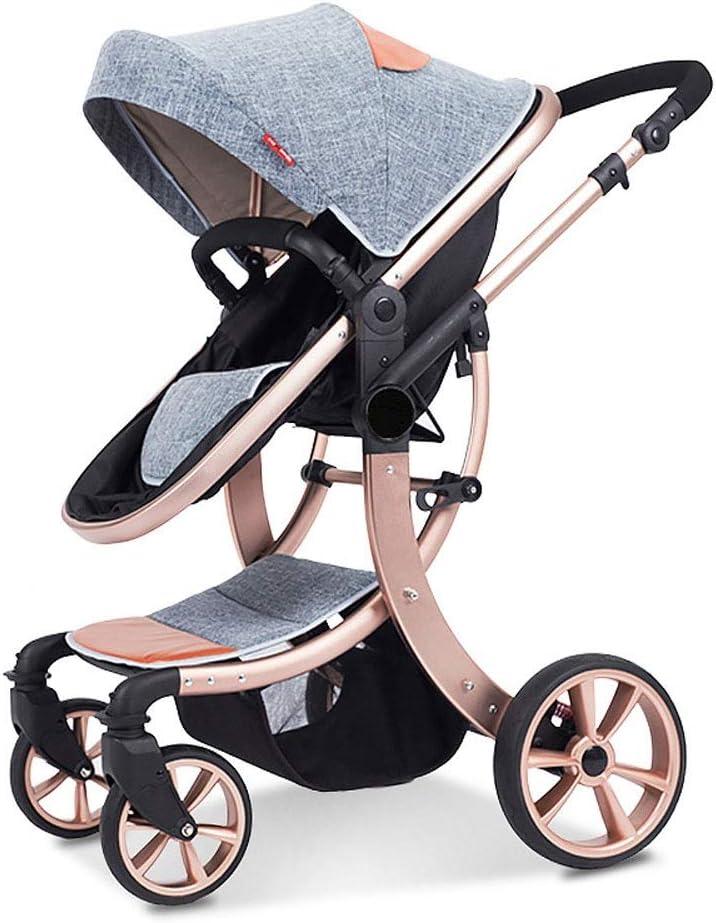 子供のトロリー、耐衝撃性を折る高い景色の四季はうそBBカート、360度回転取り外し可能な手すりに座ることができます (Color : Gray)