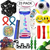 The Ultimate Sensory Fidget Toys Kit Prime 20 Packs Fidget Cube/Slime/Infinity Cube/Twisted Toy/Liquid Motion Bubbler/Squeeze Bean/Rainbow Magic Balls for Kids&Adult Add ADHD Stress Relax