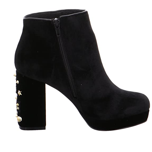 CAF NOIR MD221 black womens boot boots zip leather heel studs Caf CwPVVe0id