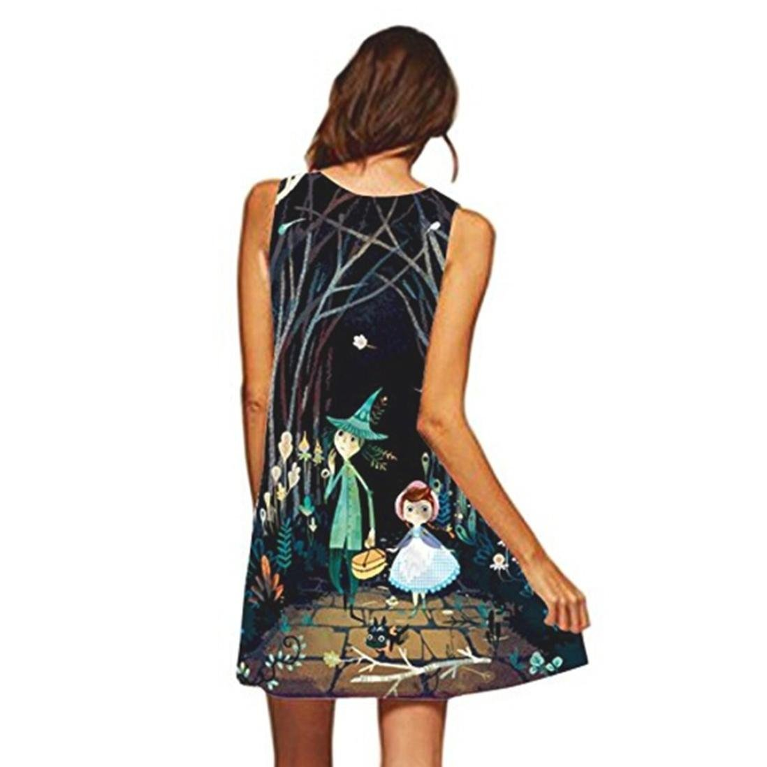 DAYLIN Vintage Large Size Boho Women Summer Sleeveless Beach Printed Short Mini Dress