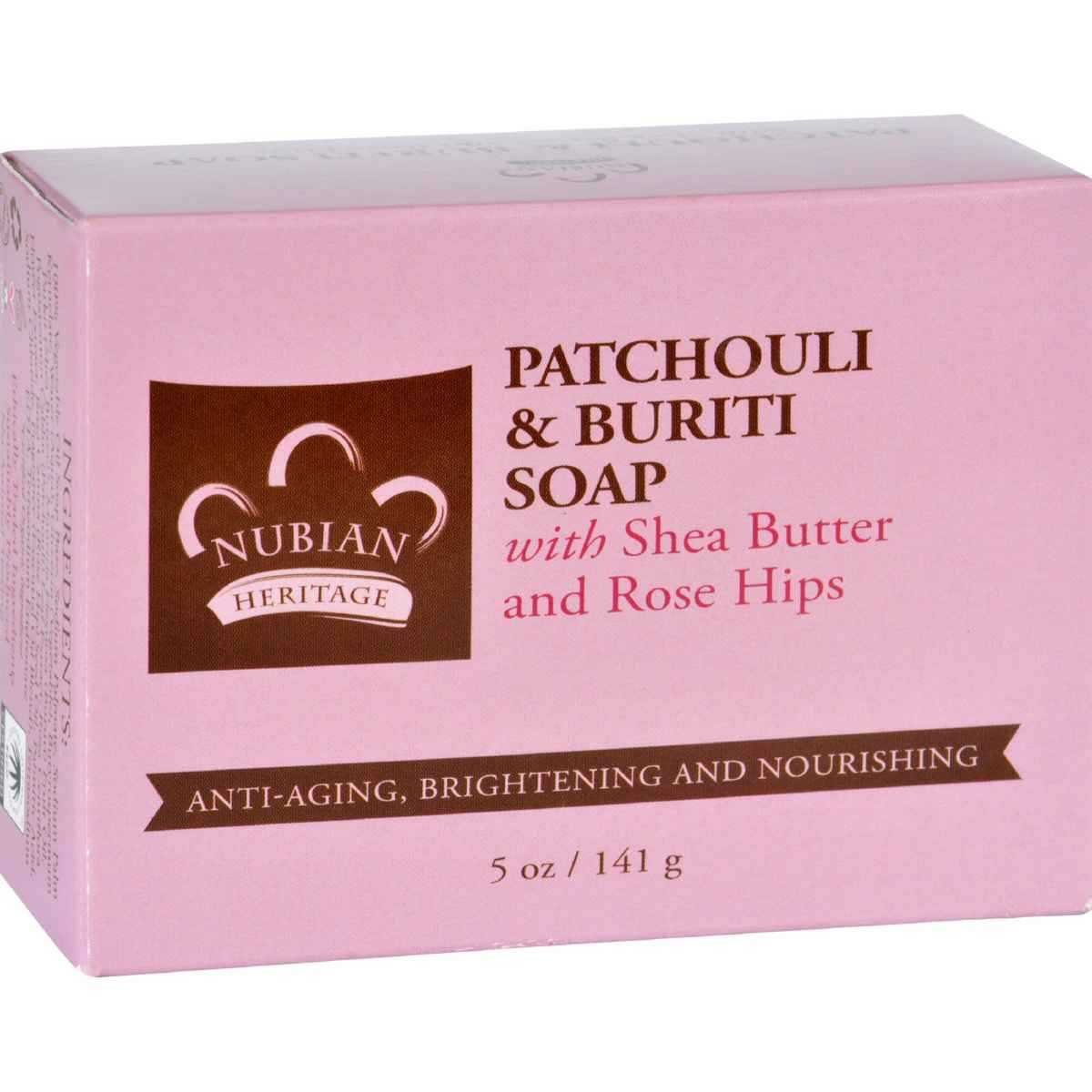 Nubian Heritage Patchouli and Buriti Bar Soap, 5 Ounce -- 1 each. UNFI - Select Nutrition 764302122203