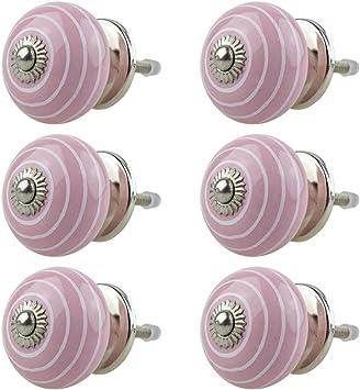 8 x Rosa Pink Porzellan Möbelknöpfe Möbelknauf Schrank Schubladen MöbelKnopf