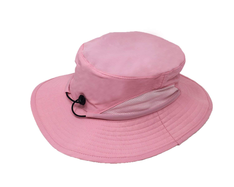 Outdoor Wide Brim Boonie Sun Cap for Men Women Military Bucket Hat for Sports & Travel Pink