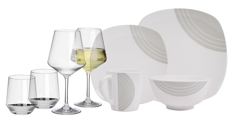 Circle Gris elfenbeinweiss eckig16 piezas para 4 personas melamina + 4 Copas de vino y 4 Tumbler/agua vasos de policarbonato camping de pizarra de Service picknik Trekking Outdoor Hekers
