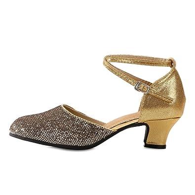 445533c0f0fdf OCHENTA Women's Mid Low Heel Salsa Tango Ballroom Latin Party Dance Shoes