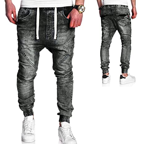 Herrenmode Casual Vintage Elastic Wash Distressed Denim Slim