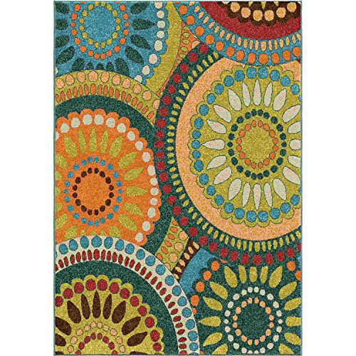 - Orian Rugs Transitional Promise Pinwheel Green 5' X 7'