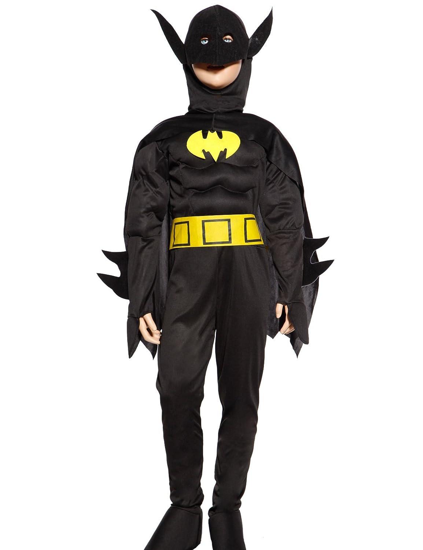 Anladia - Disfraz de Batman Cosplay Traje Musculoso + Capa con Máscara para Niños Talla S (110-120cm) entre 5 y 7 años / Talla M (120-130cm) entre 7 y 10 ...