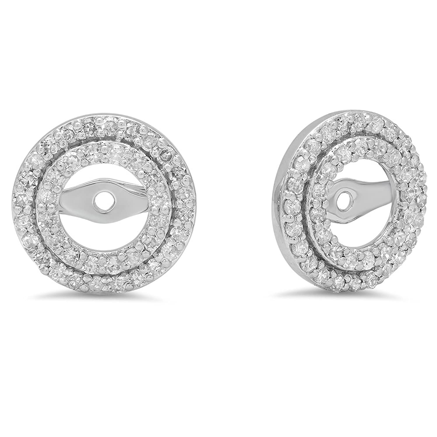 0.70 Carat (ctw) 14K White Gold White Diamond Round Shape Removable Jackets for Stud Earrings 3/4 CT