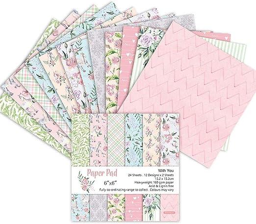 Mona43Henry 24 hojas Scrapbook Paper Pad Floral Scrapbooking Exquisita cartulina Paper Pad Vintage Stamped Paper DIY Decorative Paper Crafts para Scrapbooking y Craft: Amazon.es: Hogar