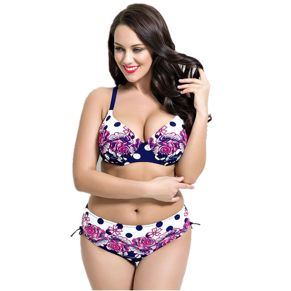 MONICAR Womens Sexy Slimming Plus Size High Waisted Underwired Bikini Swimsuit (US 16, Style 4 Navy Blue)