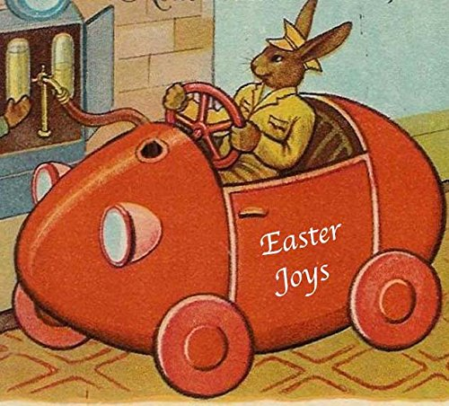 - Rabbit Driving Egg Handcrafted Wood Easter Ornament, Vintage Khaki Uniform Antique Postcard, Son Gift, Red Auto Bunny Magnet