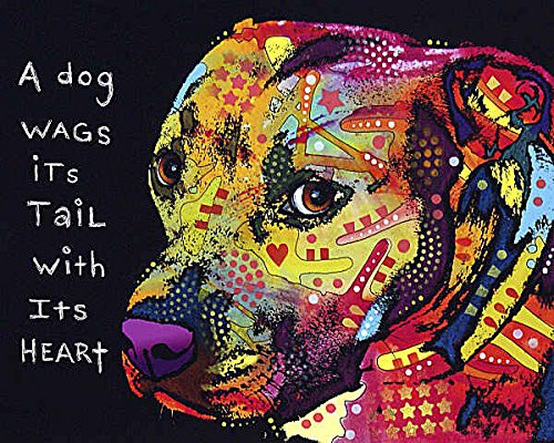 Pit Bull Posters - Gratitude Pitbull Dean Russo Animal Dog Contemporary Poster 11x14