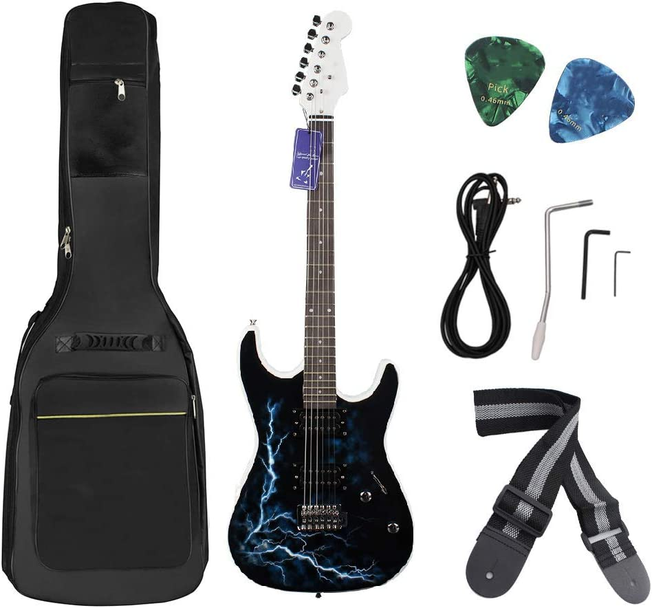 T-XYD Kit de Guitarra eléctrica 39 Pulgadas Patrón Lightning Pickup de Doble Fila de Madera Rosa Guitarra eléctrica para Principiantes Adultos