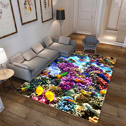 Price comparison product image Renshengyizhan@ The Underwater World Cartoon Carpet 3D Printed Soft Anti-Slip Rugs Children's Bedroom Blanket Polyester Floor mat - 47, 80X120 cm