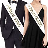"TTCOROCK ""PROM KING"" And ""PROM QUEEN"" Sashes – Graduation Party School Party Accessories, White with Gold Print"