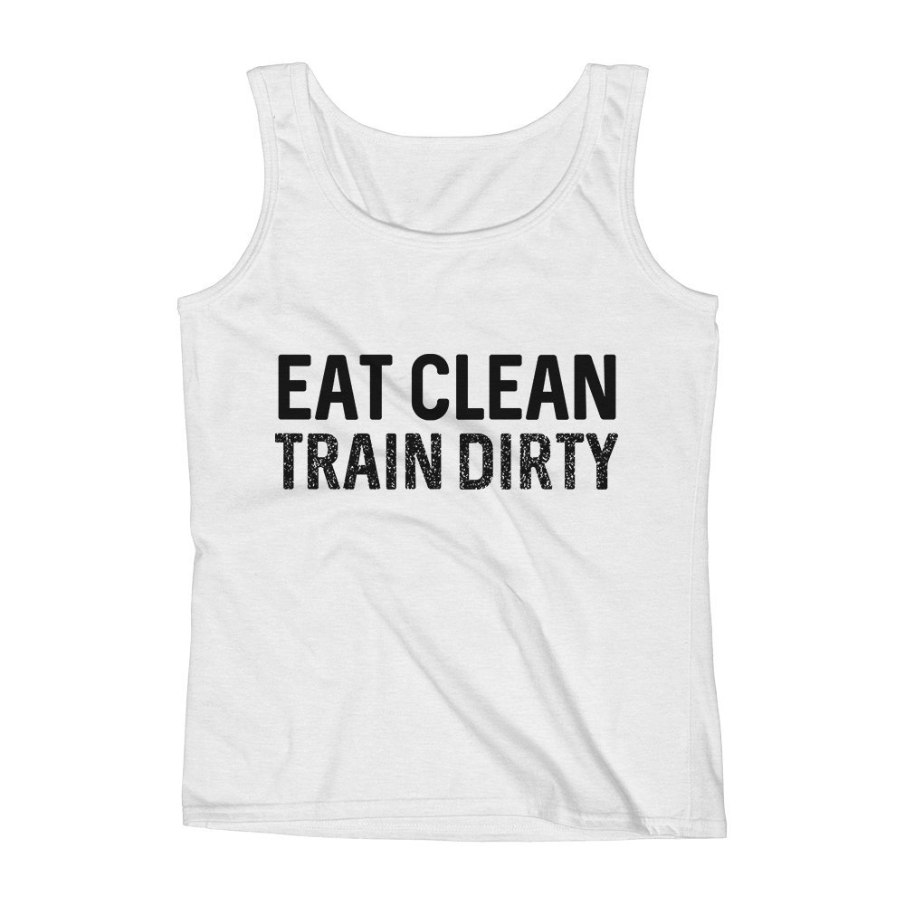 Mad Over Shirts Eat Clean Train Dirty Resolution Work Unisex Premium Tank Top