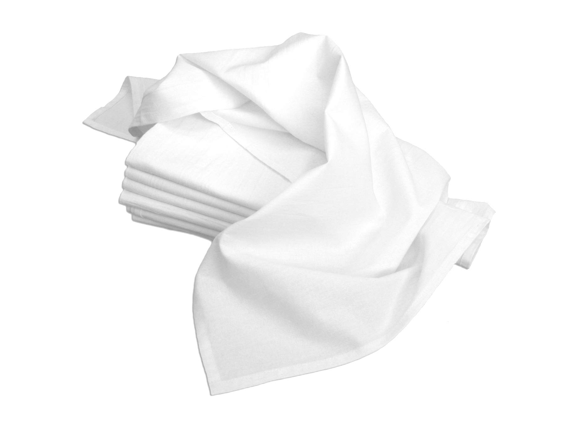 Aunt Martha's 18-Inch by 28-Inch Flour Sack Dish Towels, Premium 130 Thread Count, White, Set of 7