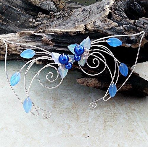 Elven Costumes For Adults (Sapphire Blue Elf Ear Cuff Wrap Pair)