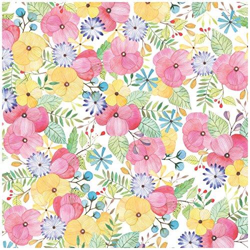 Jillson Roberts Floral Recycled Flat Gift Wrap, Watercolor Petal, 12 Sheet-Count (F145) ()