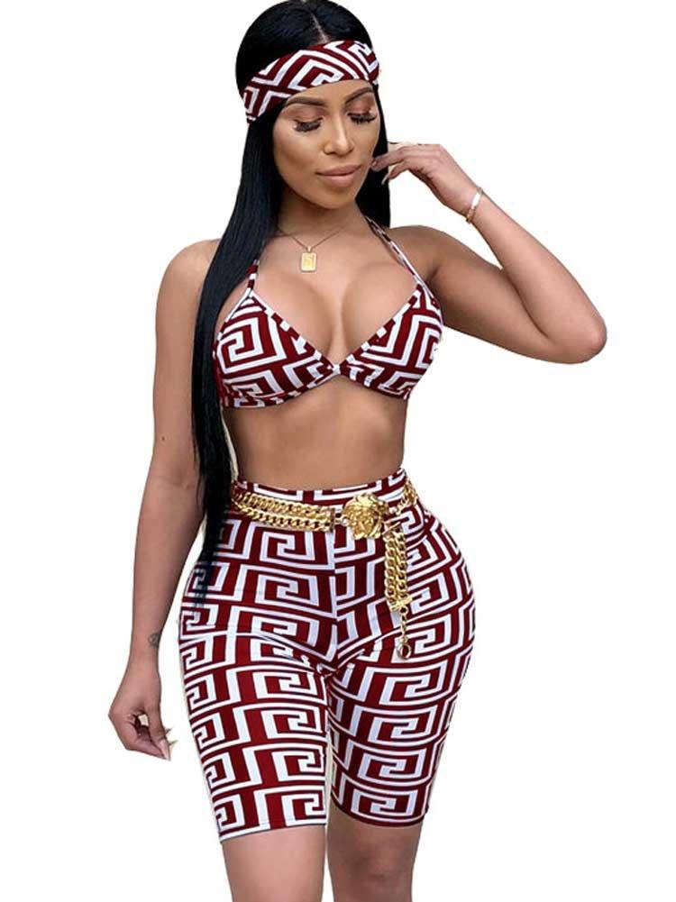 Womens Geometric Pattern 3D Printed Cami Crop Top High Waist Leggings Outfits Clubwear Red L
